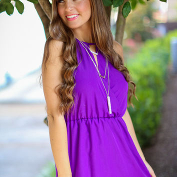 Halter Gameday Dress in Purple