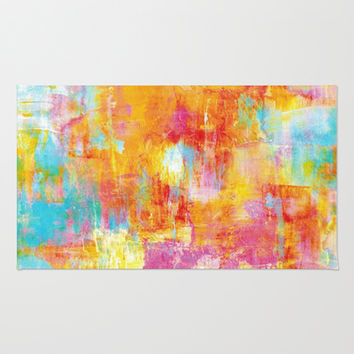 OFF THE GRID Colorful Pastel Neon Abstract Watercolor Acrylic Textural Art Painting Nature Rainbow  Area & Throw Rug by EbiEmporium