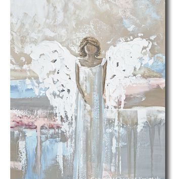 """ORIGINAL Abstract Angel Painting Art Guardian Angel White Grey Blue Pink Home Wall Decor 24x30"""""""