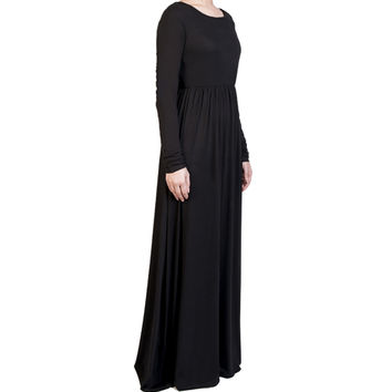 BLACK GATHERED ABAYA - £44.99 : Inayah, Islamic clothing & fashion, abayas, jilbabs, hijabs, jalabiyas & hijab pins