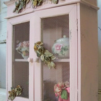 Pink wooden cabinet shabby chic hand painted detailed distressed wall cupboard home decor anita spero