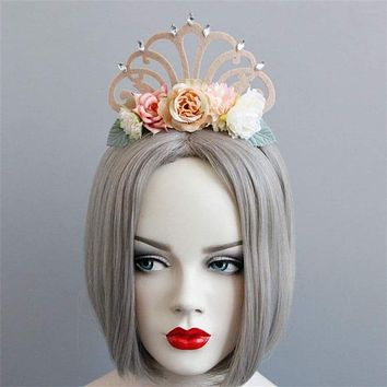 Haimeikang Felt Cloth Headbands Women Girls Princess Queen Crown Props Masquerade Halloween Cosplay Makeup Hair Jewelry Headwear Macchar Cosplay Catalogue