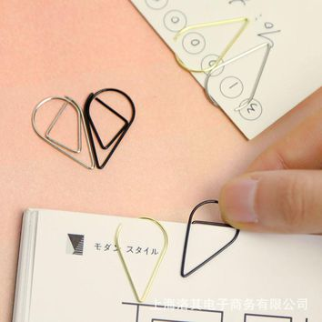 Metal Material Drop Shape Paper Clips Gold Silver Color Funny Kawaii Bookmark Office Shool Stationery Marking Clips