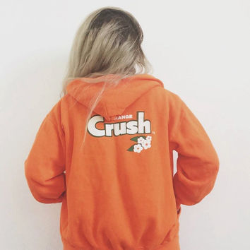 1972 Orange Crush sweatshirt - vintage 1970s 70s hoodie - hooded sweater sweat shirt - soda pop collectible rare - women extra small xs