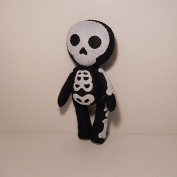 Felt skeleton Halloween inspired custom plush stuffed rag doll toy