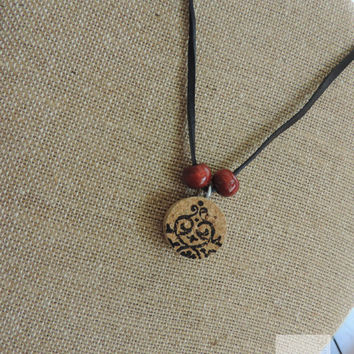 Wine cork necklace Wine jewelry Gifts for her Adjustable necklace (N045)
