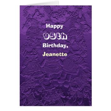 Happy 95th Birthday Greeting Card Purple Dolls