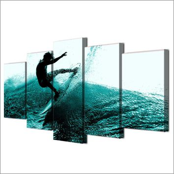 5 Panel Ocean Surfing Surfer Big Wave Canvas Panel Wall Art Man Cave Living Room