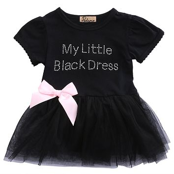 Summer Cotton Baby Toddler Top Bow-Knot Plaids Short Sleeve O-Neck Lace Black Dress Outfit Kids Cotton Sundress