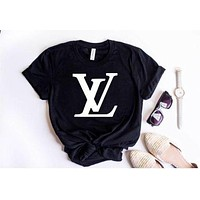 LV Louis Vuitton 2019 latest tide brand trendy fashion printed letter T-shirt