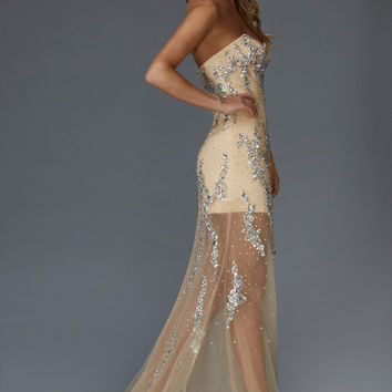 G2152 Jeweled Sheer Illusion Prom Dress Evening Gown