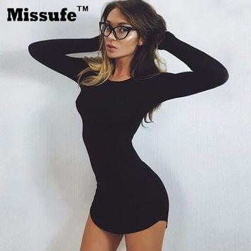 Long Sleeve Mini Bodycon Tunic Slim Party Sexy Clubwear Side Split Tshirt Dresses