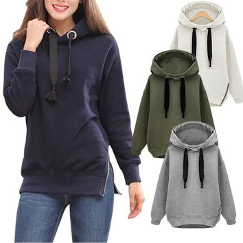 Fashion Autumn Winter Women Sweatshirt Solid Color Pullover Long Sleeves Hoodies Side Zipped Lady Girl Loose Casual Tops H9
