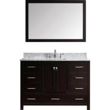 Virtu USA Caroline Avenue 48 in. W x 22 in. D x 33.46 in. H Zebra Grey Vanity with Marble Vanity Top with White Basin and Mirror KS-60048-WMSQ-ZG at The Home Depot - Mobile