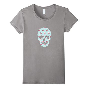 Flamingo Skull Creepy Pink Flamingo Flock Of Bird T-Shirt