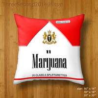 """Decorative cushion Marijuana cannabis Typograph Double Side Pillow Case cover 16"""" 18"""" 20"""" by ThreeSecond2014"""