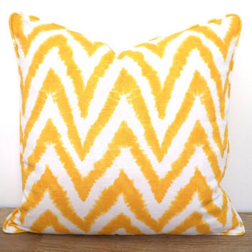 Yellow chevron pillow case 18x18 for arm chairs, ikat cushion cover, yellow pillow sham dorm room decor, large geometric pillowcase