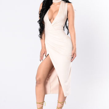 Talk About Us Dress - Taupe