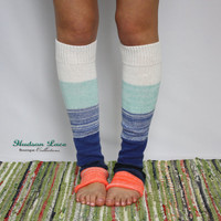 Ombre' Leg Warmers: Blue And Coral Leg Warmers - Boot Socks Boot Warmer Ombre Socks - Womens Accessories