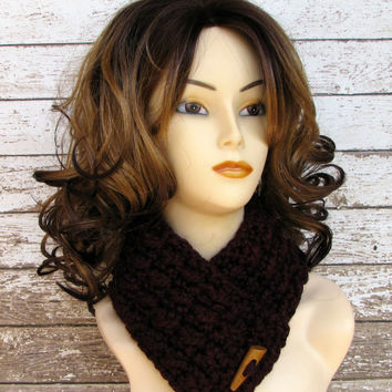Crocheted Scarf, Deep Burgundy Cowl, Women's Scarf, Ladies Cowl, Claret Wool Blend Scarf