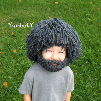 Wig Beard Hat- Any Color- Hobo- Mad Scientist- Rasta- Caveman- Boys Halloween Costume