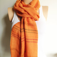 Orange Tangerine Peach Ruffle Frilly Shawl Neckwarmer Cotton Fabric Scarf stripe