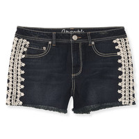 High-Waisted Dark Wash Crocheted Denim Midi Shorts