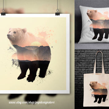 Bear Double Exposure City Landscape Animals Print Poster Tote Bag Mug Frame Pillow Case - Digital File for Download PNG High Quality