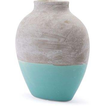 Gray & Teal Azte Vase, Large