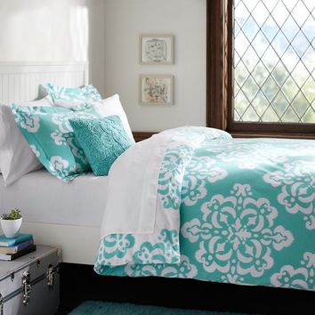 Ikat Medallion Duvet Cover + Sham, Pool
