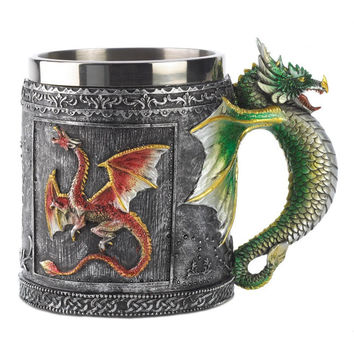 Hot Novelty Medieval 3D Dragon Mug Faucet Cup Double Wall Stainless Steel Canecas Coffee cups and mugs Copos tazas stainless