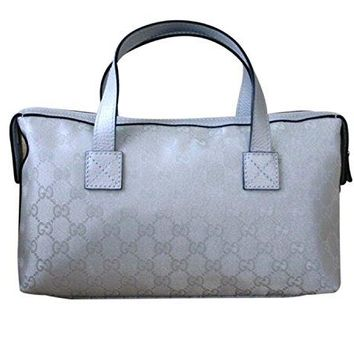Gucci Boston Bowling Bag Canvas Handbag 264210 (Silver)