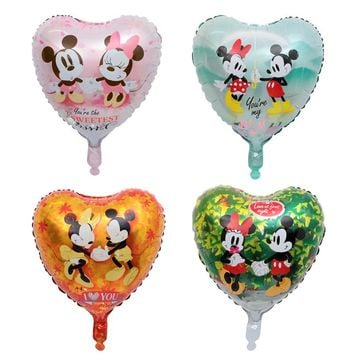 5pcs 18inch Lovely Mouse Mickey & Minnie Heart Shaped Foil Helium Balloons Birthday Wedding Decoration Children's Toys Globos