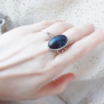 Natural black agate sterling silver oval cocktail ring, semiprecious gemstone, minimalist forged artisan jewelry, size 8 1/2