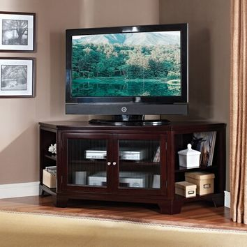 Acme 91057 Namir collection corner unit espresso finish wood tv stand entertainment center with rippled glass front storage cabinet