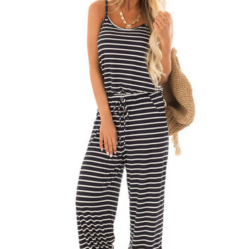 Navy Striped Spaghetti Strap Jumpsuit with Waist Tie