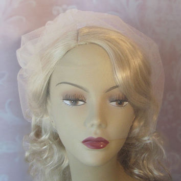 Birdcage Veil, Birdcage Wedding Veil, Bridal Blusher Tulle Veil with Attached Tulle Pouf, White, Ivory, Champagne - LEAH