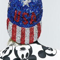 Vintage One-Of-A-Kind USA Sequin Cap - Urban Outfitters