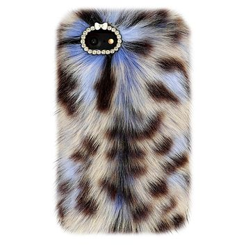 Blue Leopard Faux Fur iPhone Case