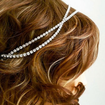 Rhinestone Hairpiece, Gatsby Wedding Headpiece Bridal Headpiece Head Chain Crysta