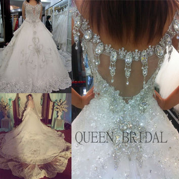 Long train luxury crystals sequins lace beaded wedding dress 2017 bride dresses wedding gown dress for wedding XD79