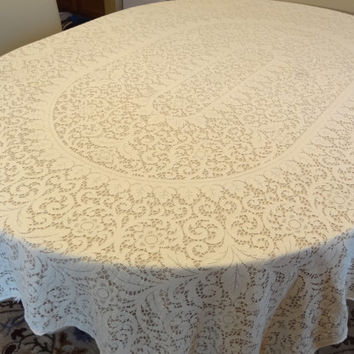 Vintage lace tablecloth shabby chic victorian oblong