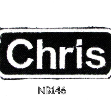 Chris Iron on Name Badge Patch for Motorcycle Biker Jacket and Vest NB146