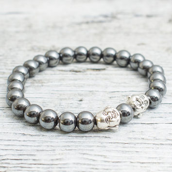 Hematite beaded stretchy silver Buddha bracelet, custom made yoga bracelet, mens bracelet, womens bracelet
