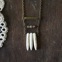 Mayan Ruins Necklace - White