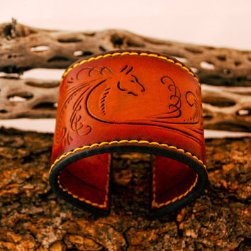 Leather cuff bracelet, hand tooled Horse Theme