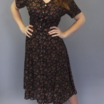 Vintage 1990s Black Rose Floral Compagnie Internationale Express Maxi Dress Country Peasant Dress Boho Romantic  Indie Chick Hipster Grunge