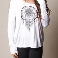 Lotus Dreamcatcher Long Sleeve Flowy Top