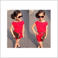 Girls Sleeveless Red Dress