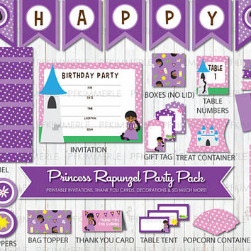 Rapunzel, Birthday Party Decorations, DIY ,Girl, Princess party, Cute, African, Purple, Disney, Tangled, Little Girl, Instant Download